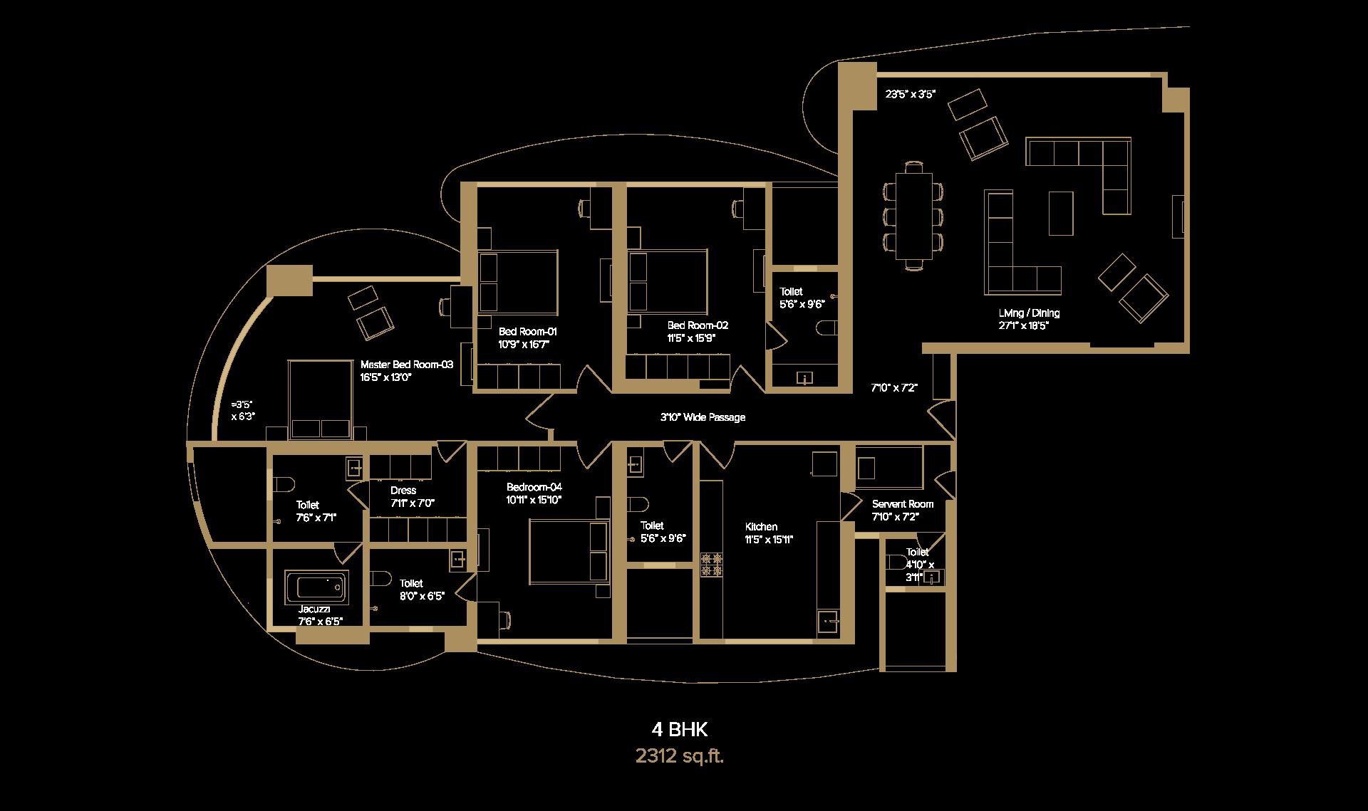 Monte Carlo 4BHK floorplan